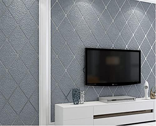 Papel Pintado No Tejido 3D Revestimiento De Celosía Geométrica Simple De Diamantes Moderno Dormitorio Sala de Estar Despacho Pasillo TV Hotel Decorativo 0.53x9.5 m (Gris)