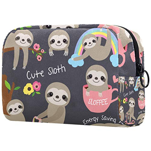 Makeup Bag Travel Cosmetic Bag Pouch Purse Handbag with Zipper - Cute Animal Rainbow Sloth