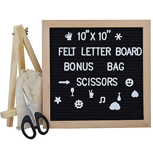 Letter Board 10x10 Inches, Changeable Letter Boards with 340 White Letters and Felt Letter Board with Stand, Wooden Tripod Stand for Classroom, Home, Office, Business (Black)