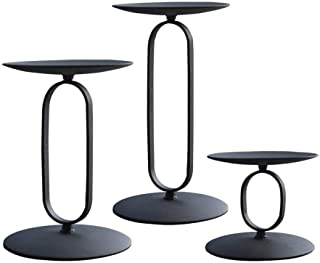 """smtyle Candle Holders Set of 3 Candelabra with Black Iron-3.5"""" Diameter Ideal for Pillar LED Candles Round"""
