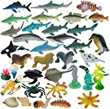 GIFTEXPRESS 36 Pcs Mini Assorted Ocean Sea Animals Figures, Realistic Sea Creatures Toy Figures, Under The Sea Life Figures, Educational Toy, Easter Egg Filler, Cupcake Topper, Aquarium Decorations