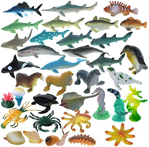 GIFTEXPRESS 36 Pcs Mini Assorted Ocean Sea Animals Figures  Realistic Sea Creatures Toy Figures  Under The Sea Life Figures  Educational Toy  Easter Egg Filler  Cupcake Topper  Aquarium Decorations