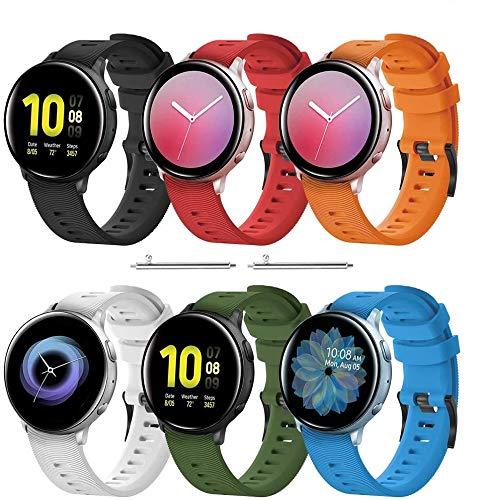 TOPsic 20mm Cinturino Galaxy Watch Active/Active 2 40mm 44mm/Galaxy Watch 42mm Braccialetto di Silicone Fascia da Polso Cinturini per Vivoactive 3/Vivomove HR/Forerunner 245/645/Gear Sport/Gear S2