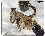 Cojín de ratón Original de Encargo de la Serie del Leopardo, Base de Goma Antideslizante del Leopardo Salvaje de la Nieve del Leopardo