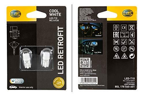 HELLA 8GL 178 560-601 Glühlampe - LED - LED Retrofit - 12V - 1W/5000K - Sockelausführung: W2,1x9,5d - Blister - Menge: 2