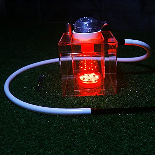 N\C Shisha, Shisha Set Square Acryl Shisha mit Multi-Color LED-Leuchten, EIN Schlauch, Big Pipe, Acryl Shisha Set, mit Shisha-Zubehör, mit Multi-Color LED-Leuchten rot LKWK