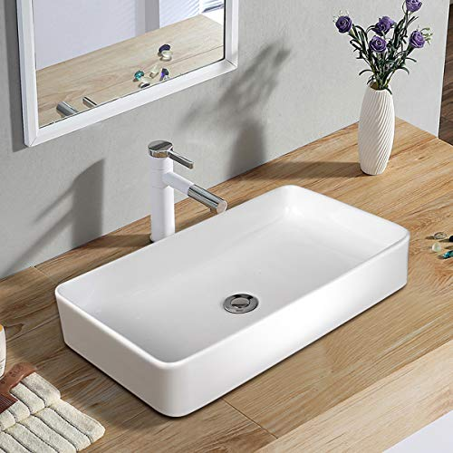 TANGKULA Lavabo rectangular de 24 'x 14' para recipiente de baño, porcelana de porcelana de cerámica encima del mostrador, lavabo para lavabo de recipiente de lavabo con desagüe, ideal para el hogar, el restaurante y el hotel, blan