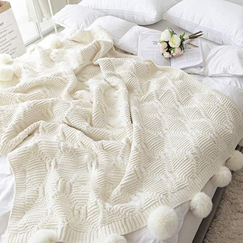 WLGQ Manta de Lana Tejida de Chenilla, Manta cómoda y cálida para Sala de Estar/Cama/sofá sillón, Linda Manta de Viaje con Bola de Pelo Blanca