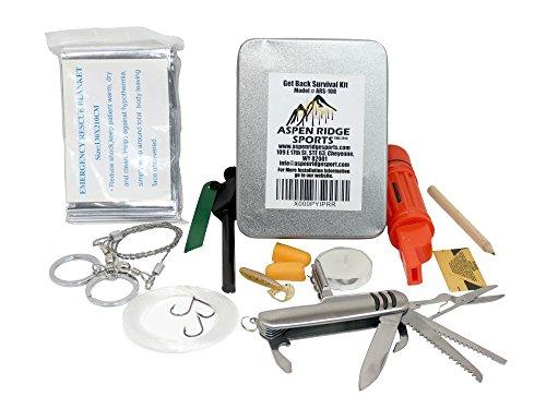 """Aspen Ridge Sports """"Get Back"""" - Kit di sopravvivenza, con kit accendi fuoco e coperta di emergenza in mylar"""