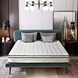 Edow 10 Inch Innerspring and Memory Foam Hybrid Mattress, Multilayer Design, Quilted Pillow Top,Medium Firm. (Queen)