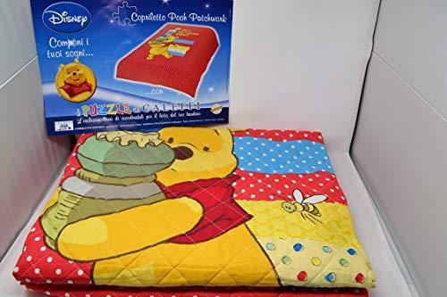 Caleffi - Colcha primaveral individual algodón Winnie The Pooh Pooh Pooh Patchwork VAR. 034 rojo