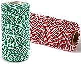 YYAOO 2 cuerdas de hilo de algodón para manualidades de 200 m, color rojo y verde para hornear...
