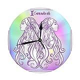 AEMAPE Reloj de Pared Moderno Gran Signo del Zodiaco Colección de horóscopo astrológico Reloj Redondo Digital