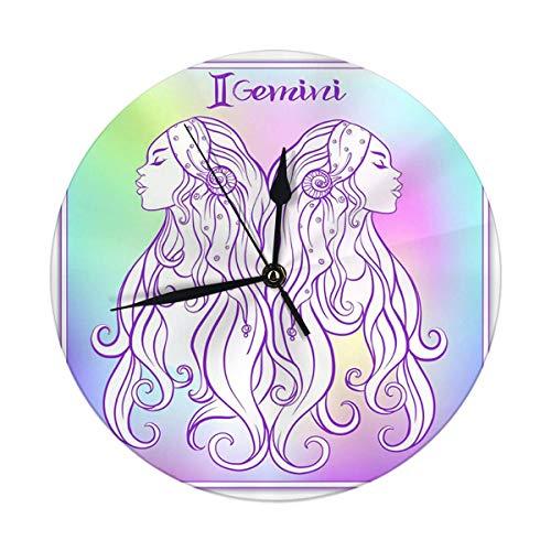 FETEAM Reloj de Pared Moderno, Grande de 9,8 Pulgadas, Signo del Zodiaco, colección de horóscopo astrológico, Reloj Redondo Digital
