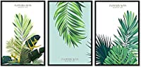 Canvas Poster Print Painting Wall Art Plant Green Leaf Modern Minimalist Nordic Picture Bedroom Living Room Home Decor-35*50Cm*3(14*20Inch*3)No Frame