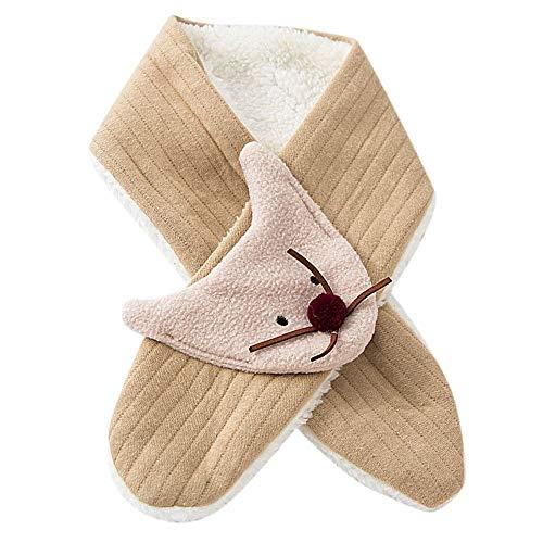 Cuteelf Mädchen Steck-Schal aus Fleece, kuschelig weicher Halswärmer mit Schlaufe zum Einstecken Cartoon Tiere Fox 3D Stereo Niedlicher Warmer Schal Lätzchen