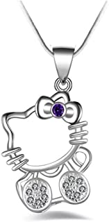 04609df4a UUONLY Hello Kitty Necklace, Kitty Cat Necklace-Silver Plated Cat Pendant  Necklace, Birthday