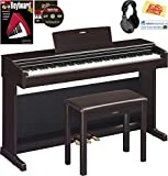 Yamaha Arius YDP-144 Console Digital Piano Bundle with Furniture Bench, Headphones, Instructional...