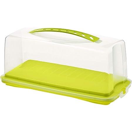 Rotho Fresh Conteneur à gâteaux avec capot et poignée de transport, Plastique (PP) sans BPA, verte/transparente, (36.0 x 16.5 x 16.5 cm)