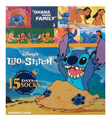 Disney Lilo & Stitch 12 Days of Socks Advent Calendar Gift Set + Bonus 3 Socks (Womens)