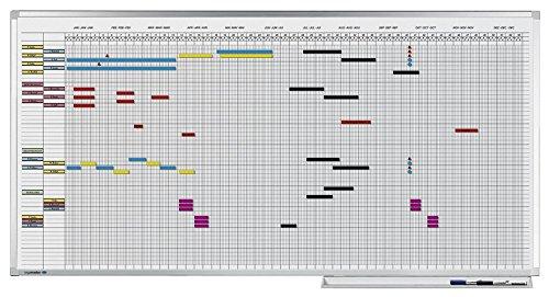 Legamaster 7-404200 Professional Jahresplaner im Ganzjahresformat, emailliertes, leichtes Whiteboard bedruckt mit Kalenderraster, 75 x 150 cm