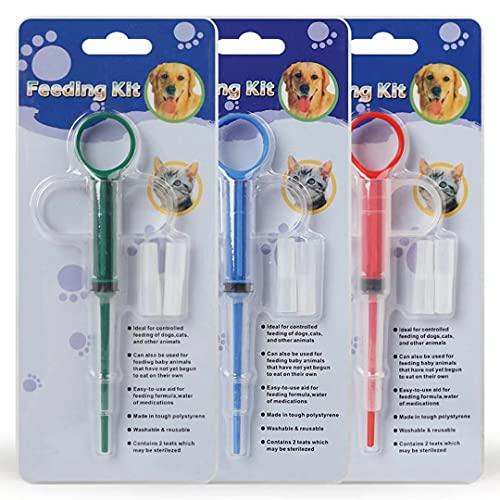 3 Stücke Tablette Feeder,Medikamenten-Feeder Pet Pusher Spritze Pillenspender, geeignet für Katzen und kleine Hunde