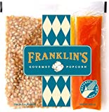 Franklin's Gourmet Movie Theater Popcorn. Organic Popping Corn, 100% Coconut Oil, & Seasoning Salt. Pre-Measured Portion Packs (Pack of 24)