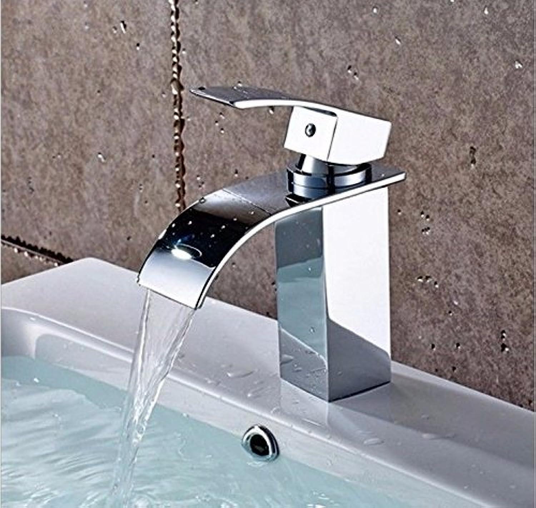 MNLMJ Heie und kalte Spülbeckenhahn-Küchenhahn der modernenModerne einfache kupferne heie und kalte Spülbecken WasserhhneKupfer Wasserfall Wasserhahn Geeignet für alle Badezimmer Spülbecken