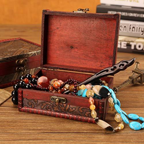 Wffo - Joyero de Madera, diseño Vintage, Hecho a Mano, con Mini candado de Metal para Guardar Joyas