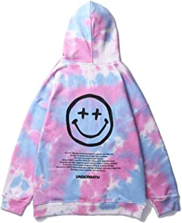 Fashion Smiley Face Printed Tie-dye Loose Pullover Hoodie for Men/Women