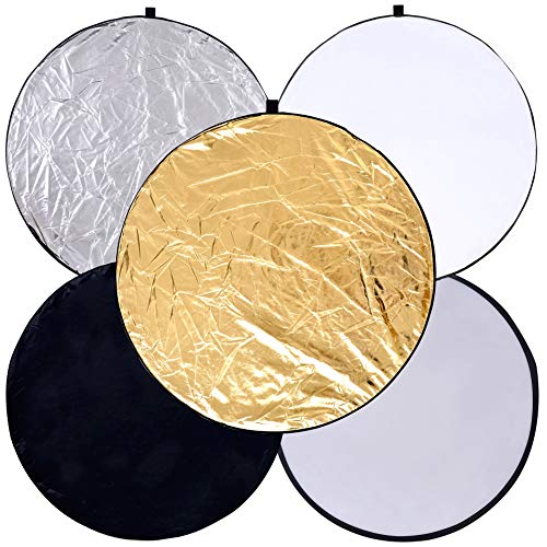 Round 24-inch / 60cm 5-in-1 Portable Collapsible Multi Disc Light Reflector Photography with Bag for Studio or Any Photography Situation-Silver, Gold, White, Translucent and Black