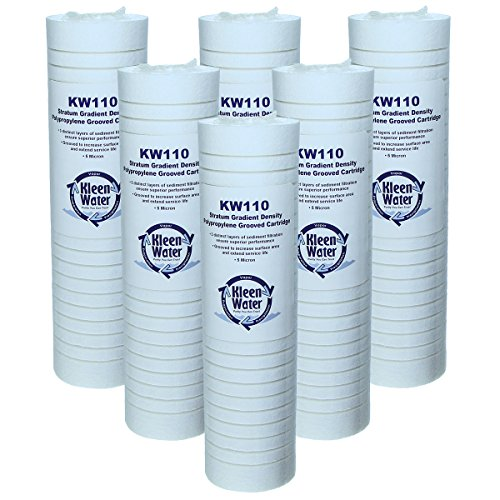 Aqua Pure AP110 Whirlpool WHKF-GD05 Compatible Filter, KleenWater Brand KW110 Replacement Cartridges, Set of 6, Dirt Rust and Sediment Filtration