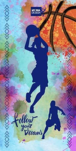 Y&M Toalla diseño Baloncesto Niña, Ideal para Playa, Piscina o baño, diseño Exclusivo MY DNA Design, un Regalo Original para Las apasionadas de Este Deporte…