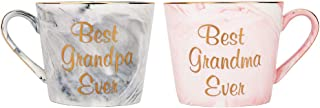 Happy Homewares Beautifully Designed Best Grandma and Grandpa Pink and Grey Marble 12oz Ceramic Mugs with Golden Metal Trim Lovely Gift Idea for Loving Grandparents