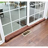 HOME DISTRICT Sliding Door Draft Dodger - Weighted Patio Door Breeze, Bug and Noise Guard Stopper Blocker - Approx. 71' Long - Chocolate