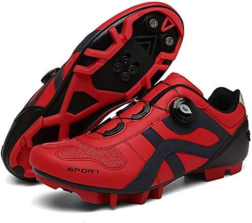 WYUKN Zapatillas de ciclismo MTB para hombre con zapatilla Peloton compatible con SPD y Delta para hombres Lock Pedal Bike Shoes, Rojo-37EU=(235mm)