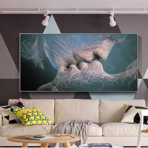 Lcgbw modulaire afbeeldingen canvas gedrukt schilderij muurkunstwerk 1 stuk kus tussen liefhebbers moderne poster voor woonkamer decoratie 60x120cm Segeltuch