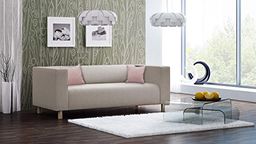 lifestyle4living Sofa, Couch, 2-Sitzer, Polstersofa, Webstoff, Beige, Creme, Wohnzimmercouch, Designersofa, modern, Retro, 2er Sofa