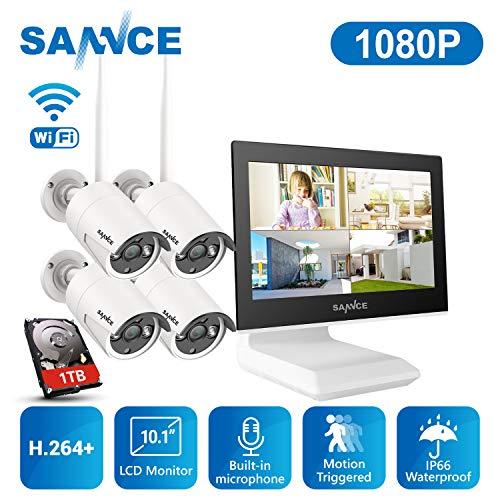 SANNCE Überwachungskamera Set mit Monitor 1080P 4CH NVR Wlan Überwachungskamerasystem und 4 * 1080P Wlan Kamera 1TB Festplatte für Innen Außen