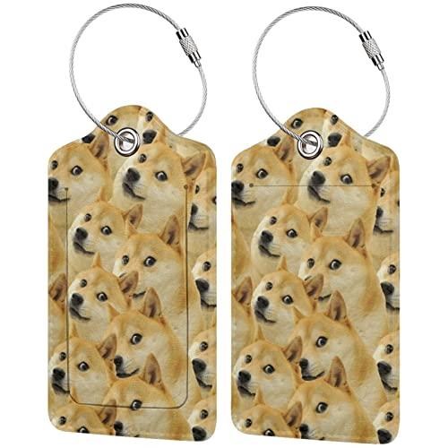 BCLYPBO Mr Doge Meme Etiquetas de equipaje de cuero, Etiquetas de equipaje, Etiquetas de maleta de...