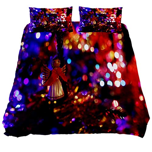 N\O Holidays Christmas Eve Deco Gifts Bedding Sets Breathable Bedclothes 3 Pieces Bedding Duvet Cover Sets (1 Duvet Cover + 2 Pillowcases) Room Decor Ultra Soft Microfiber(NO Comforter Included)