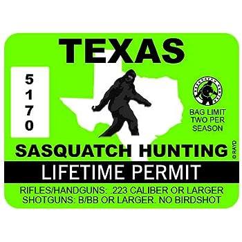 "RDW Texas Sasquatch Hunting Permit - Color Sticker - Decal - Die Cut - Size: 4.00"" x 3.00"""