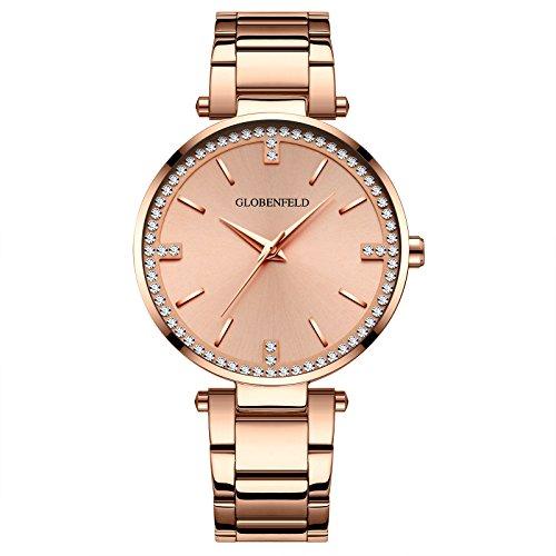 GLOBENFELD - Starlight - Damen Armbanduhr mit 68 Swarovski Kristallen I Elegante und hochwertige Quartzuhr mit Lithium-Uhrwerk - Rose-Gold