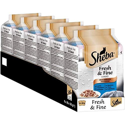 Sheba Fresh & Fine – Nassfutter für Katzen – Im extra kleinen Portionsbeutel - für mehr Variation und Frische, 12x(6x50g)