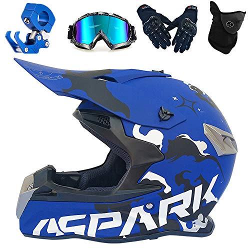 PKFG® Casco Motocross Adulto Azul, Integral Casco de Moto Mujer Hombre Casco...