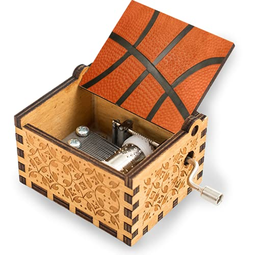 Music Box Orange Sport Ball Basketball Print Wooden Hand Crank Engraved Musical Boxes Mechanism Antique Vintage Personalized Cute Tiny Musicbox Gift for Women Men Girls Boys Kids