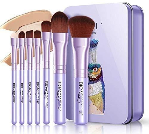 CWD Súper Suave Cepillo De Maquillaje 7 unids/Set Women Facial Maquillaje Pinceles Set Face Cosmetic Beauty Eye Shadow Foundation Blush Brush Brick Herramienta (Color : Purple)