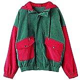 WOOGOD Chaqueta de felpa para mujer, larga, de pana con cremallera, moderna, informal, de forro polar, parka para exterior, abrigo corto, verde, L