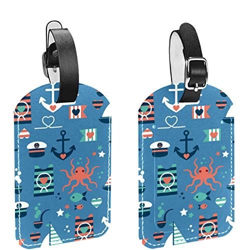 Luggage Tag Set of 2, His Hers Ours Travel Bag Tag, Suitcase Tag, School Bag Tag Cute Salor Pattern
