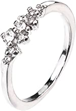 MILIMIEYIK Crystal Ring Band, Women's Rose/White Gold Plated Cz Engagement Rings Best Promise Anniversary Wedding Bands